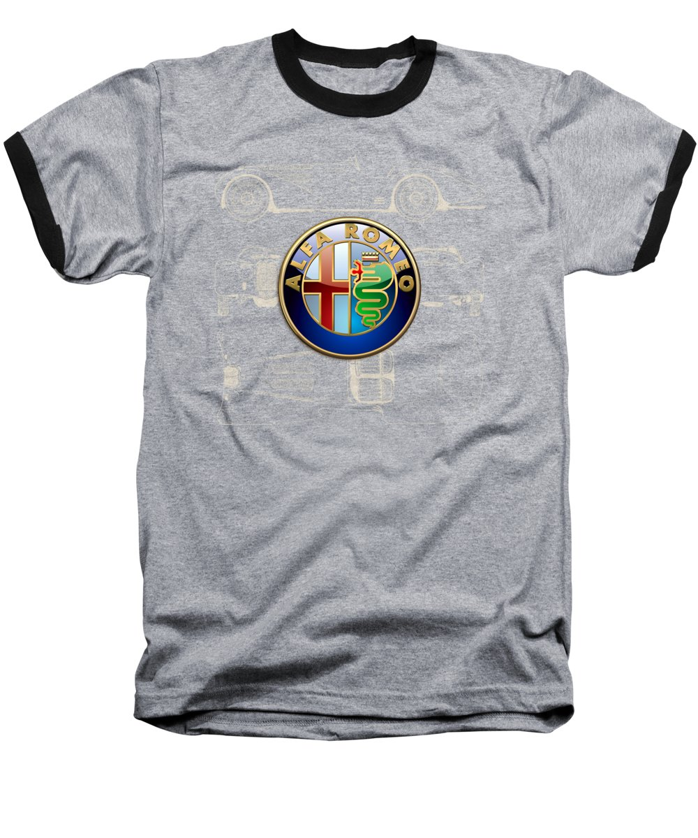 �wheels Of Fortune� By Serge Averbukh Baseball T-Shirt featuring the photograph Alfa Romeo 3 D Badge Over 1938 Alfa Romeo 8 C 2900 B Vintage Blueprint by Serge Averbukh