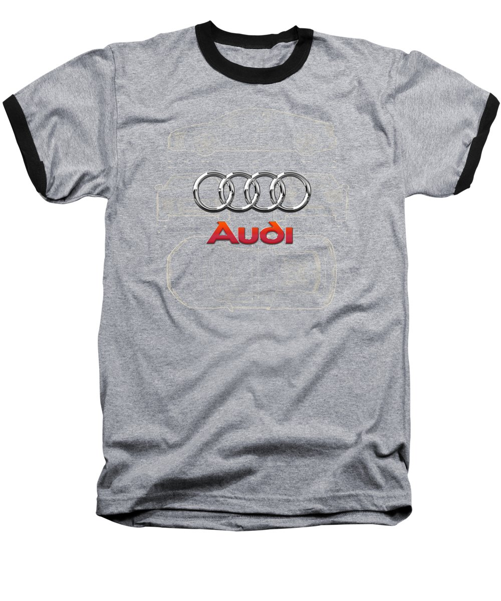 �wheels Of Fortune� Collection By Serge Averbukh Baseball T-Shirt featuring the photograph Audi 3 D Badge Over 2016 Audi R 8 Blueprint by Serge Averbukh
