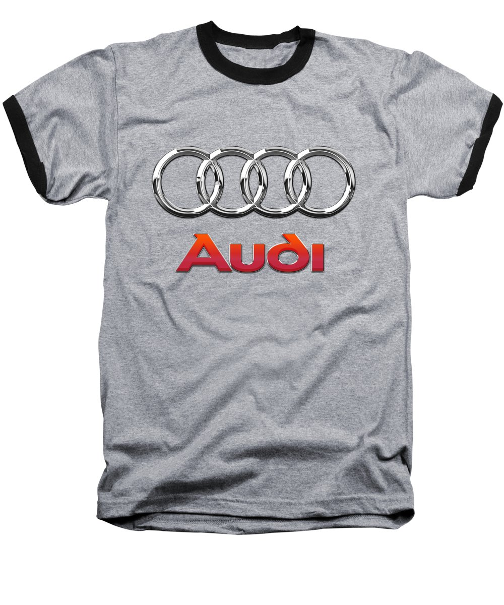 Wheels Of Fortune By Serge Averbukh Baseball T-Shirt featuring the photograph Audi - 3d Badge On Red by Serge Averbukh