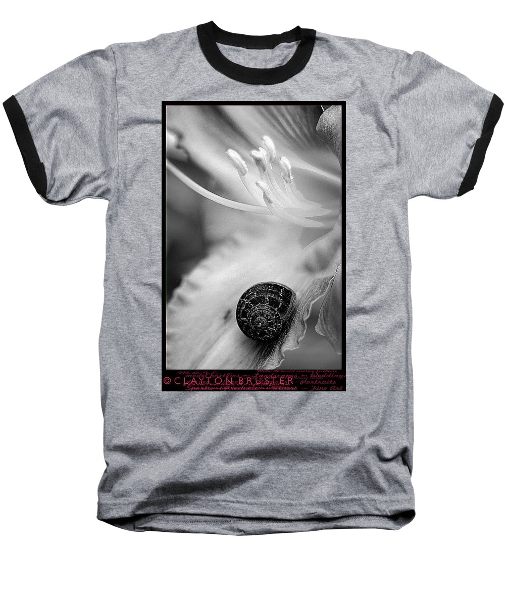 Clay Baseball T-Shirt featuring the photograph B And White Floral With Snail by Clayton Bruster