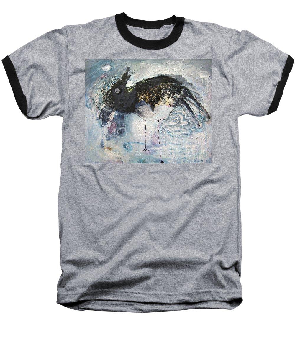 Robin Painting Baseball T-Shirt featuring the painting Baby Robin by Seon-Jeong Kim