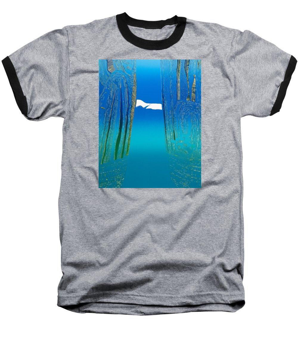 Landscape Baseball T-Shirt featuring the mixed media Between Two Mountains. by Jarle Rosseland