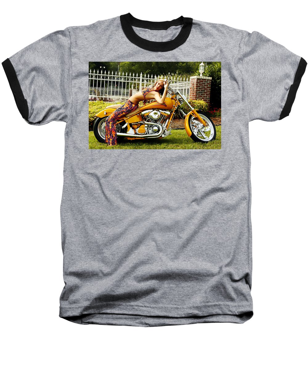 Clay Baseball T-Shirt featuring the photograph Bikes And Babes by Clayton Bruster