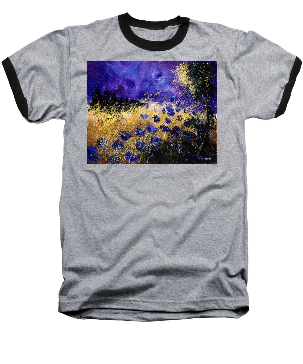 Poppies Baseball T-Shirt featuring the painting Blue Cornflowers by Pol Ledent