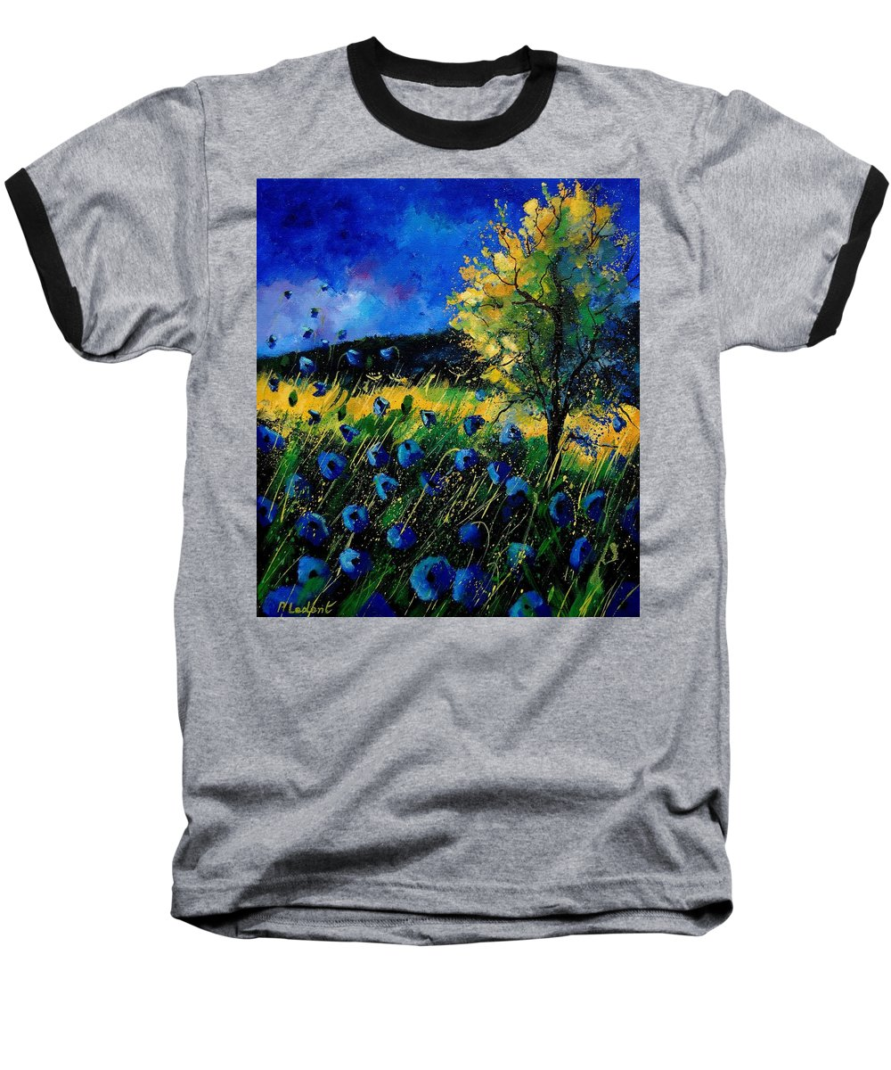 Poppies Baseball T-Shirt featuring the painting Blue Poppies by Pol Ledent