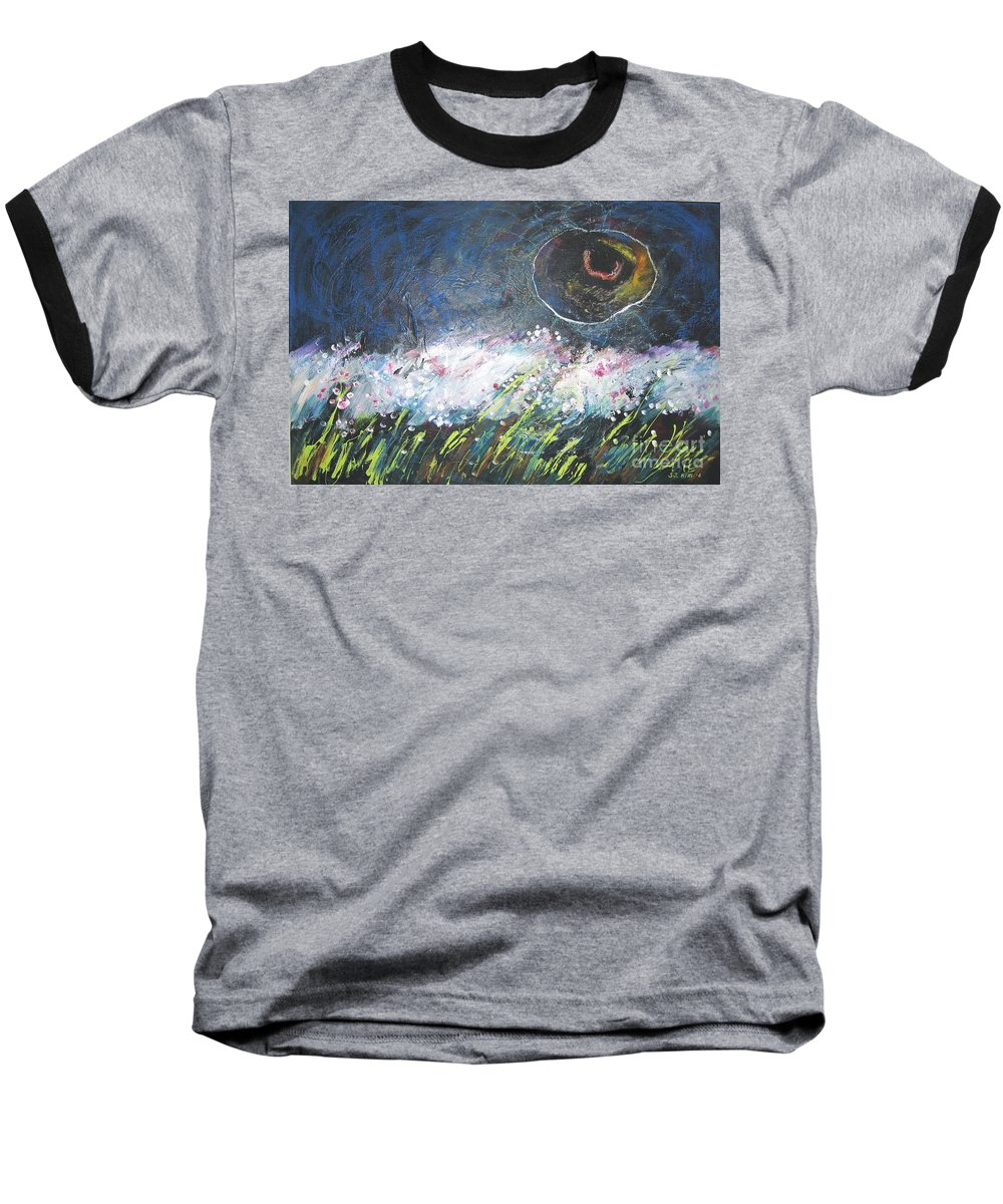 Aabstract Paintings Baseball T-Shirt featuring the painting Buckwheat Field by Seon-Jeong Kim
