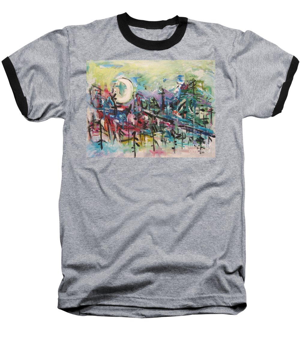 Abstract Paintings Baseball T-Shirt featuring the painting Bummer Flat2 by Seon-Jeong Kim