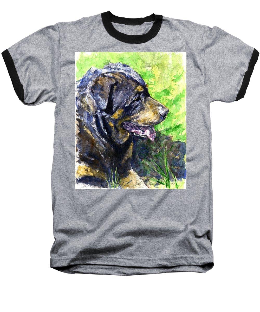 Rottweiler Baseball T-Shirt featuring the painting Chaos by John D Benson