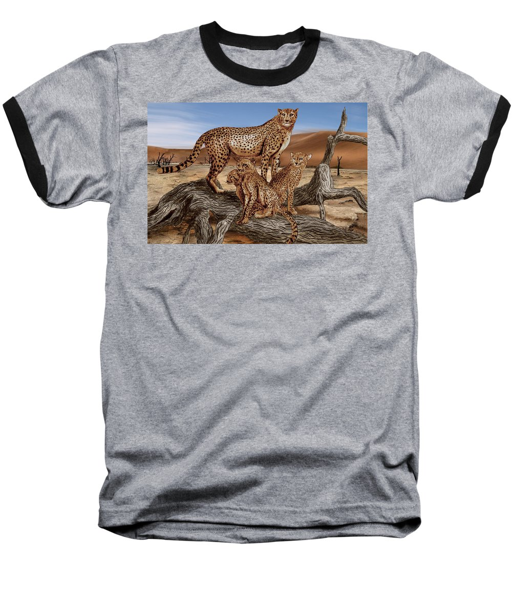 Cheetah Family Tree Baseball T-Shirt featuring the drawing Cheetah Family Tree by Peter Piatt
