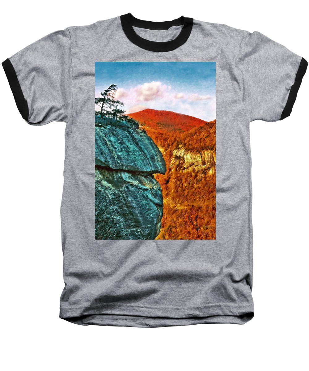 Landscape Baseball T-Shirt featuring the painting Chimney Rock by Steve Karol