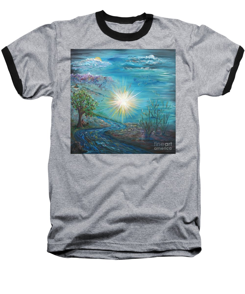 Creation Baseball T-Shirt featuring the painting Creation by Nadine Rippelmeyer