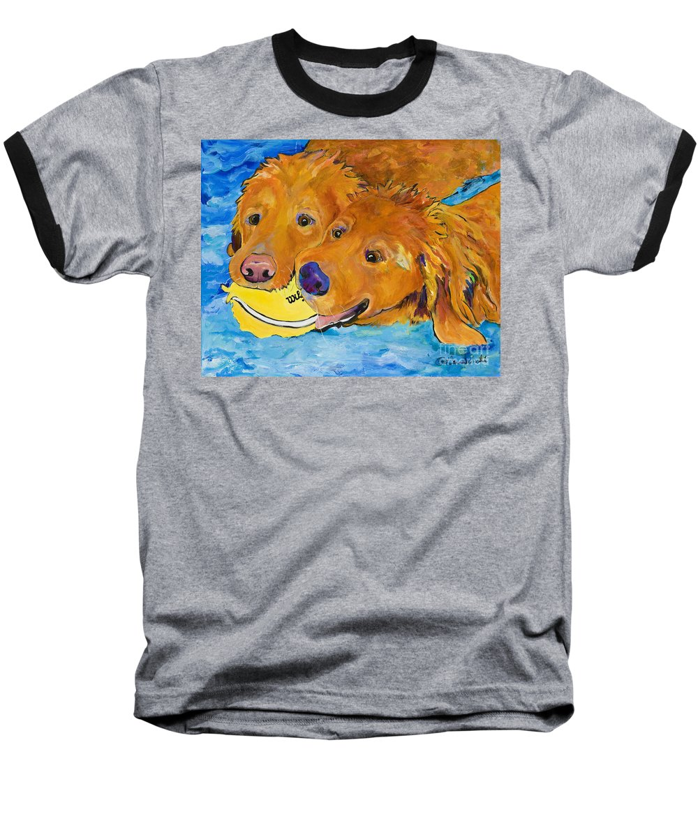 Golden Retriever Baseball T-Shirt featuring the painting Double Your Pleasure by Pat Saunders-White