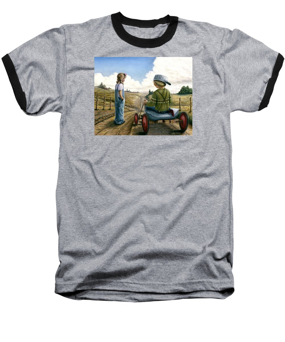 Children Playing Baseball T-Shirt featuring the painting Down Hill Racer by Lance Anderson