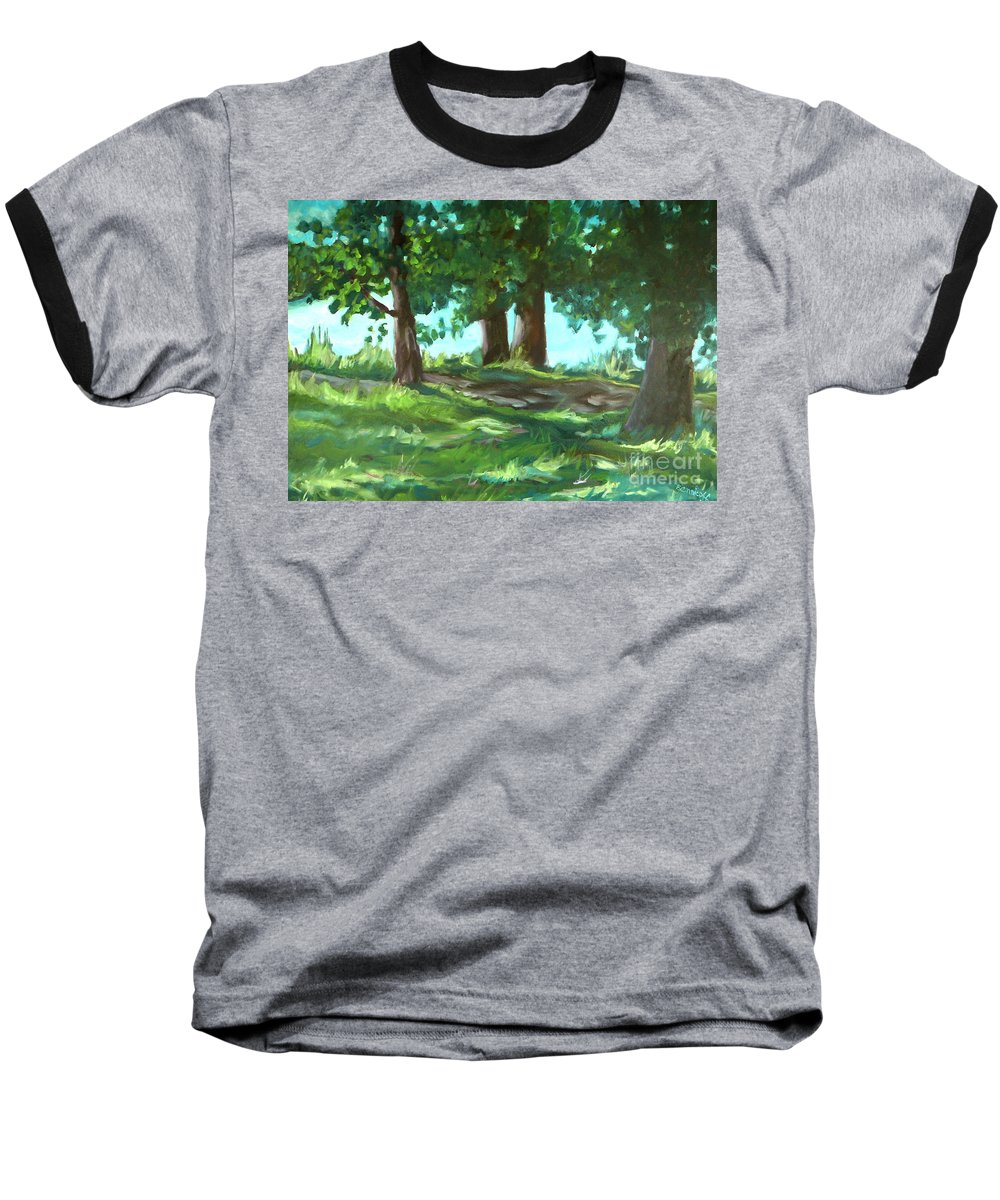 Expressionist Landscape Baseball T-Shirt featuring the painting Dreaming On Fellows Lake by Jan Bennicoff