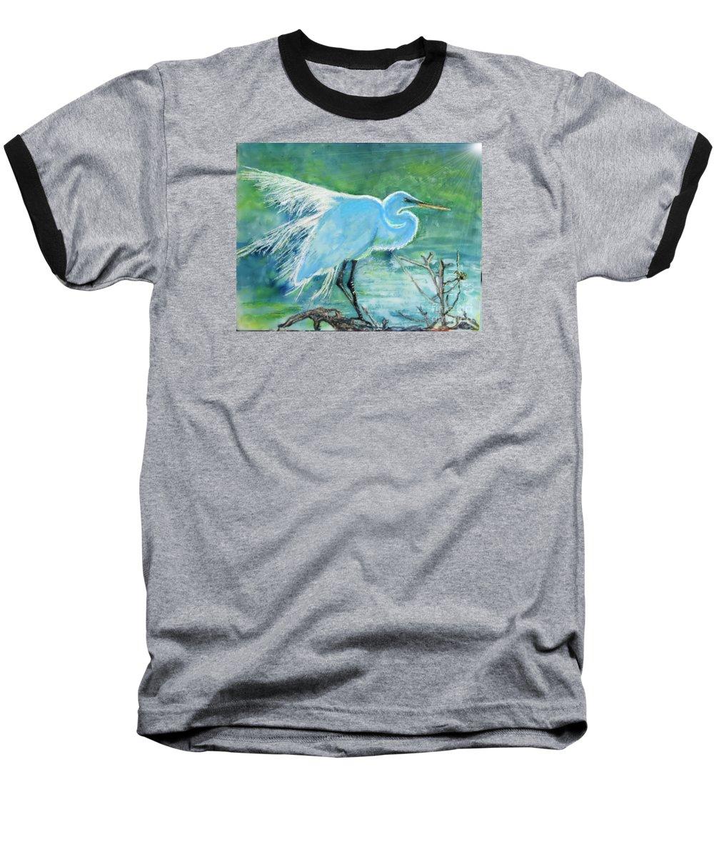 Egret Baseball T-Shirt featuring the painting Egret In The Summer Breeze by Dawn Johansen