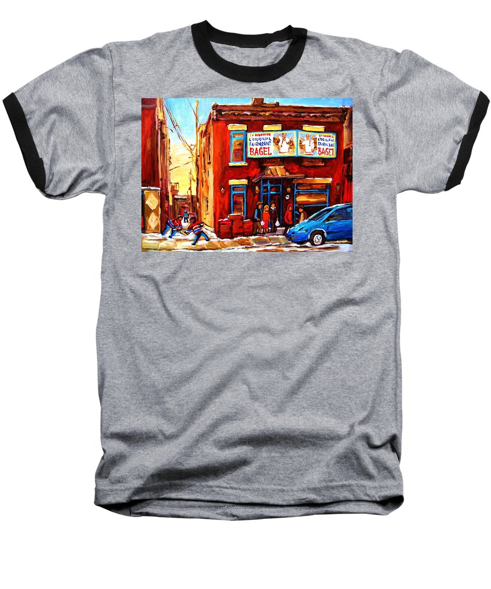 Hockey Baseball T-Shirt featuring the painting Fairmount Bagel In Winter by Carole Spandau
