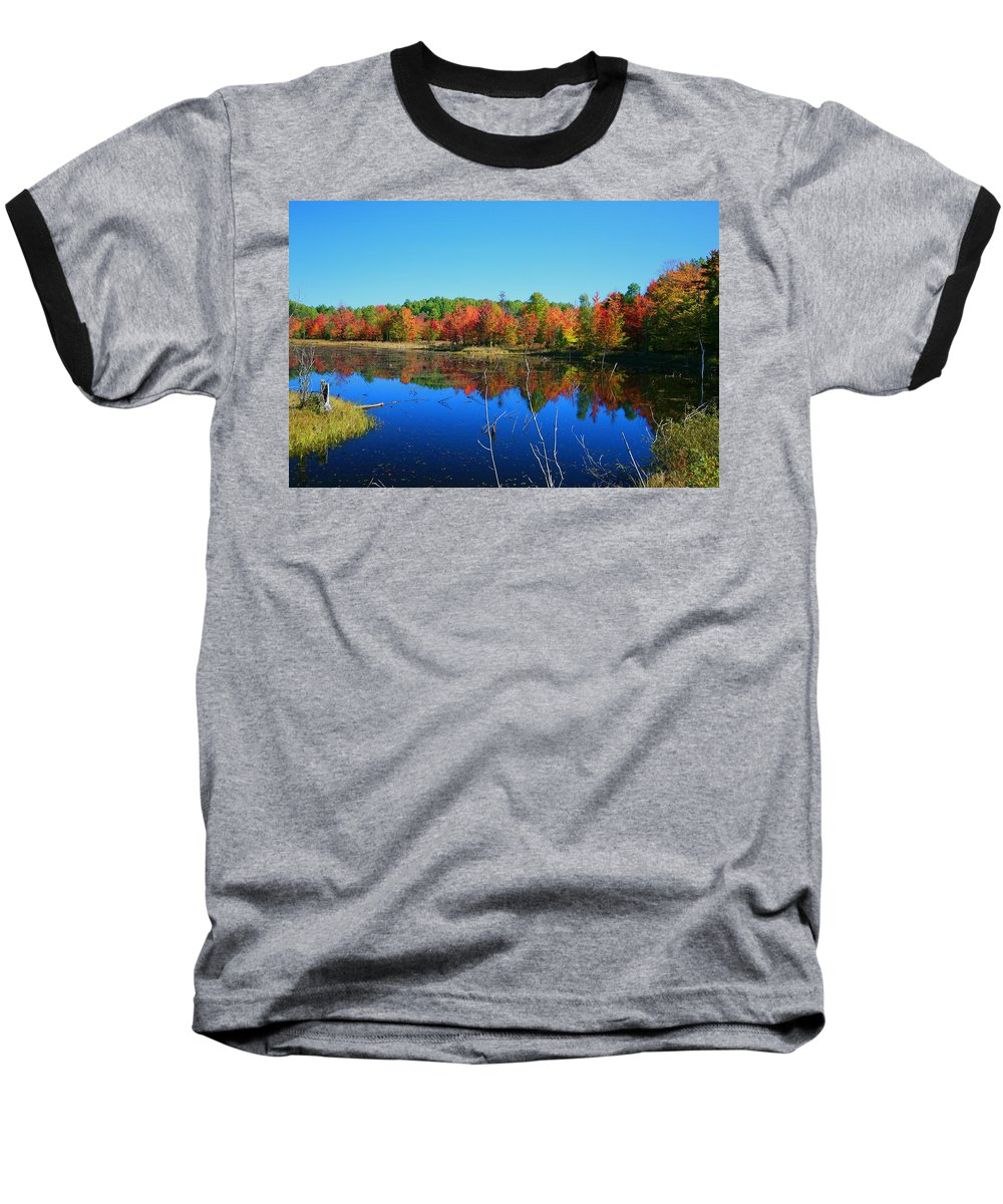 Fall Baseball T-Shirt featuring the photograph Fall Fire Works by Robert Pearson