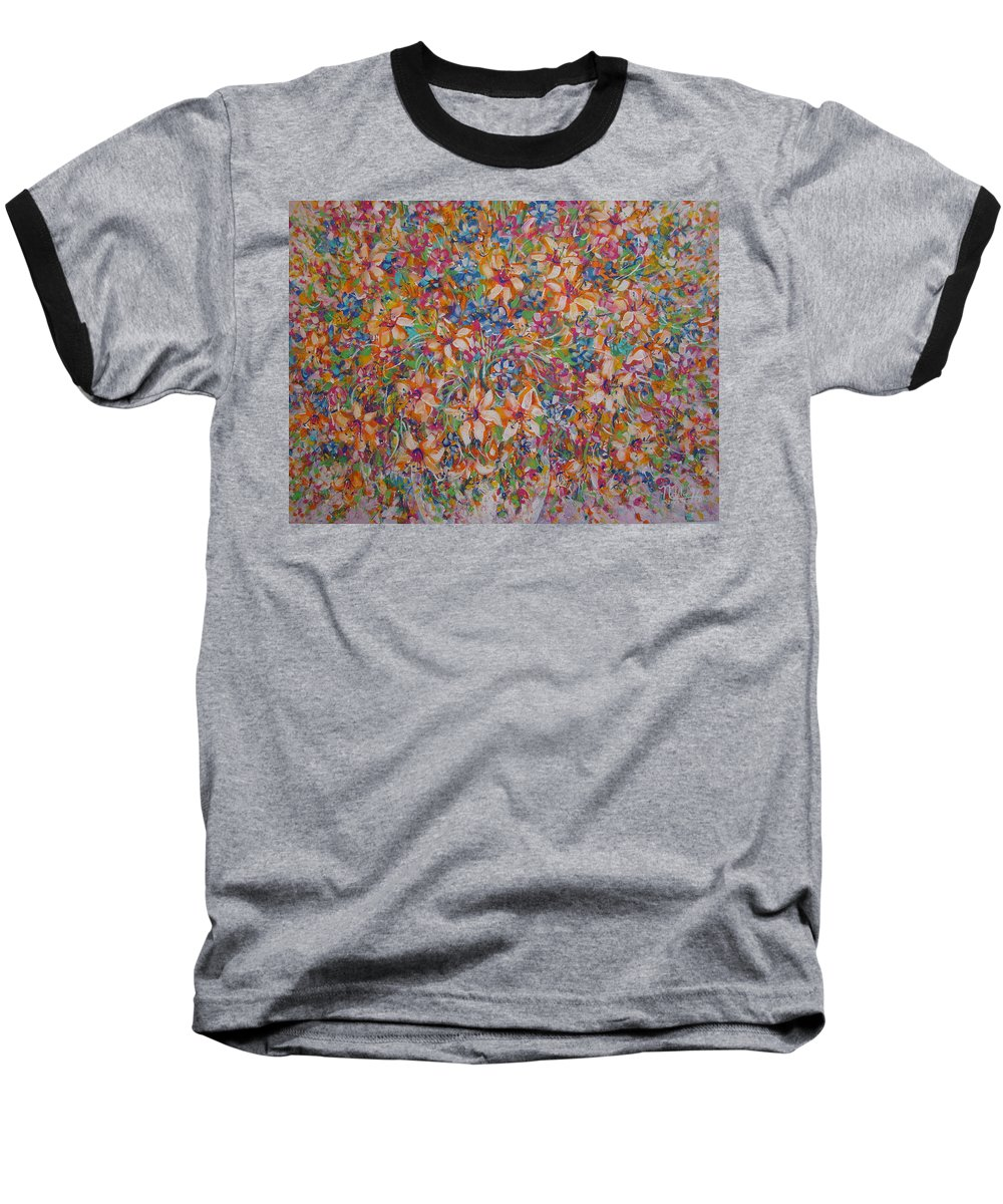 Flowers Baseball T-Shirt featuring the painting Flower Galaxy by Natalie Holland