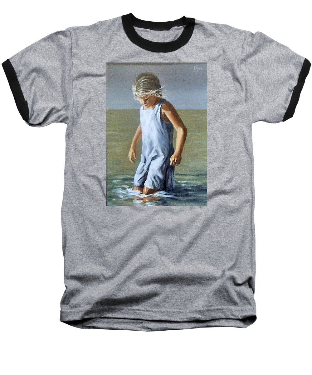 Girl Children Reflection Water Sea Figurative Portrait Baseball T-Shirt featuring the painting Girl by Natalia Tejera