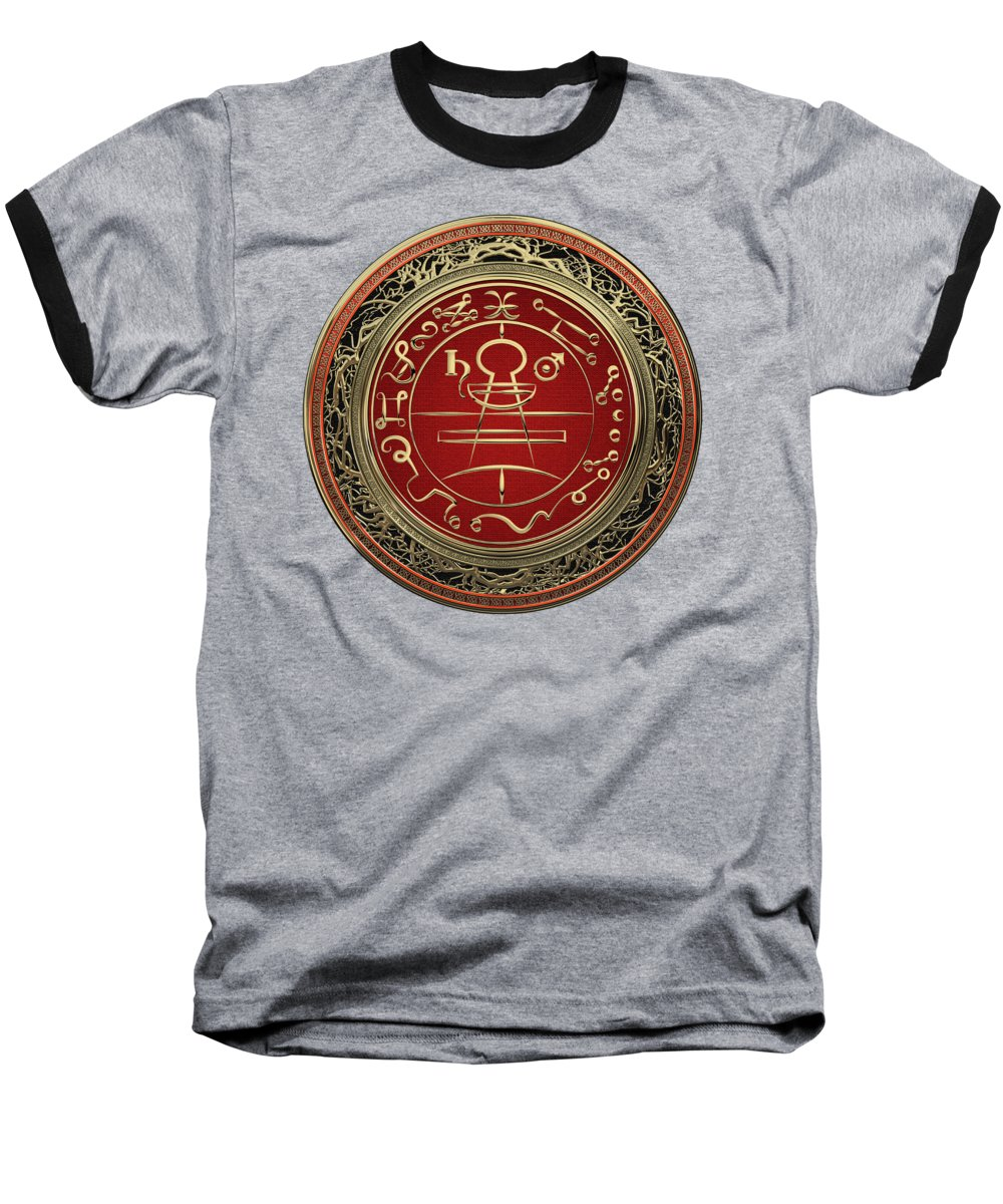 'sacred Symbols' Collection By Serge Averbukh Baseball T-Shirt featuring the photograph Gold Seal Of Solomon - Lesser Key Of Solomon On Black Velvet by Serge Averbukh