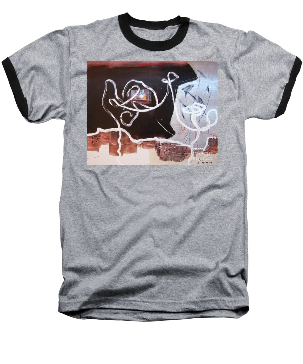 Abstract Paintings Baseball T-Shirt featuring the painting Hand In Hand by Seon-Jeong Kim