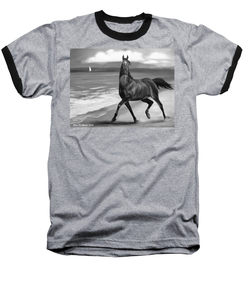 Horses Baseball T-Shirt featuring the painting Horses In Paradise Dance by Gina De Gorna