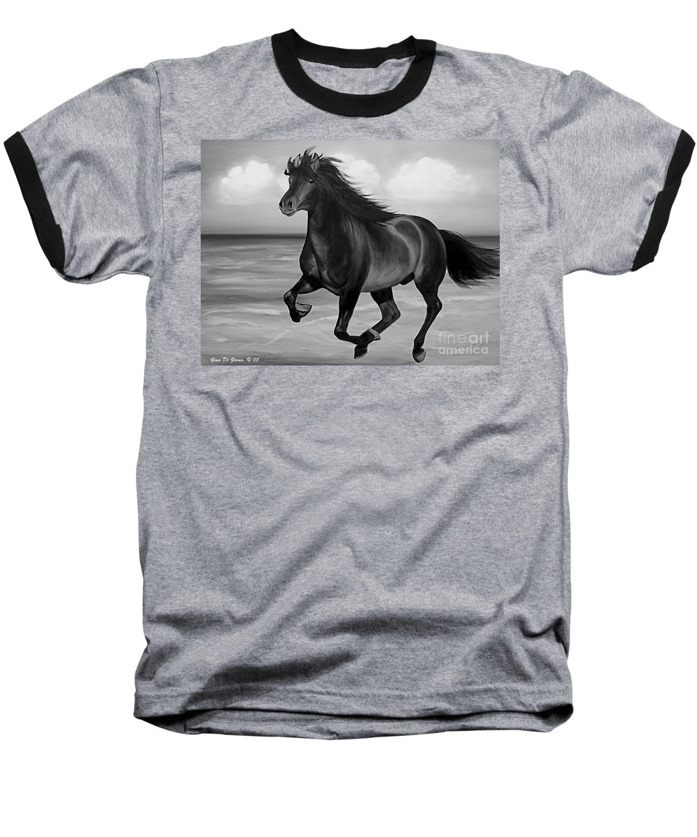 Horses Baseball T-Shirt featuring the painting Horses In Paradise Run by Gina De Gorna