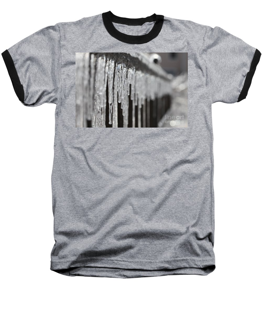 Icicles Baseball T-Shirt featuring the photograph Icicles At Attention by Nadine Rippelmeyer