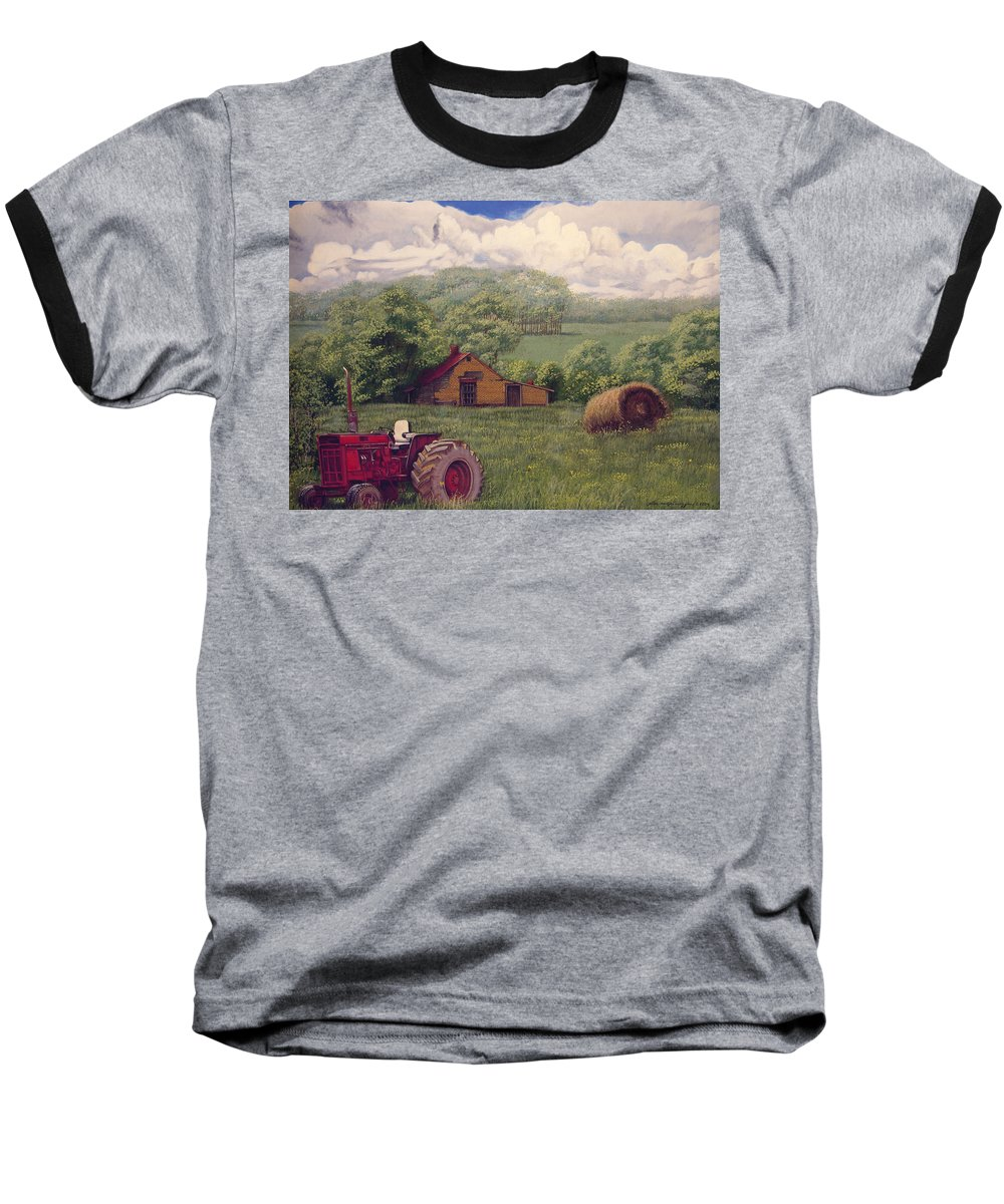 Landscape Baseball T-Shirt featuring the painting Idle In Godfrey Georgia by Peter Muzyka