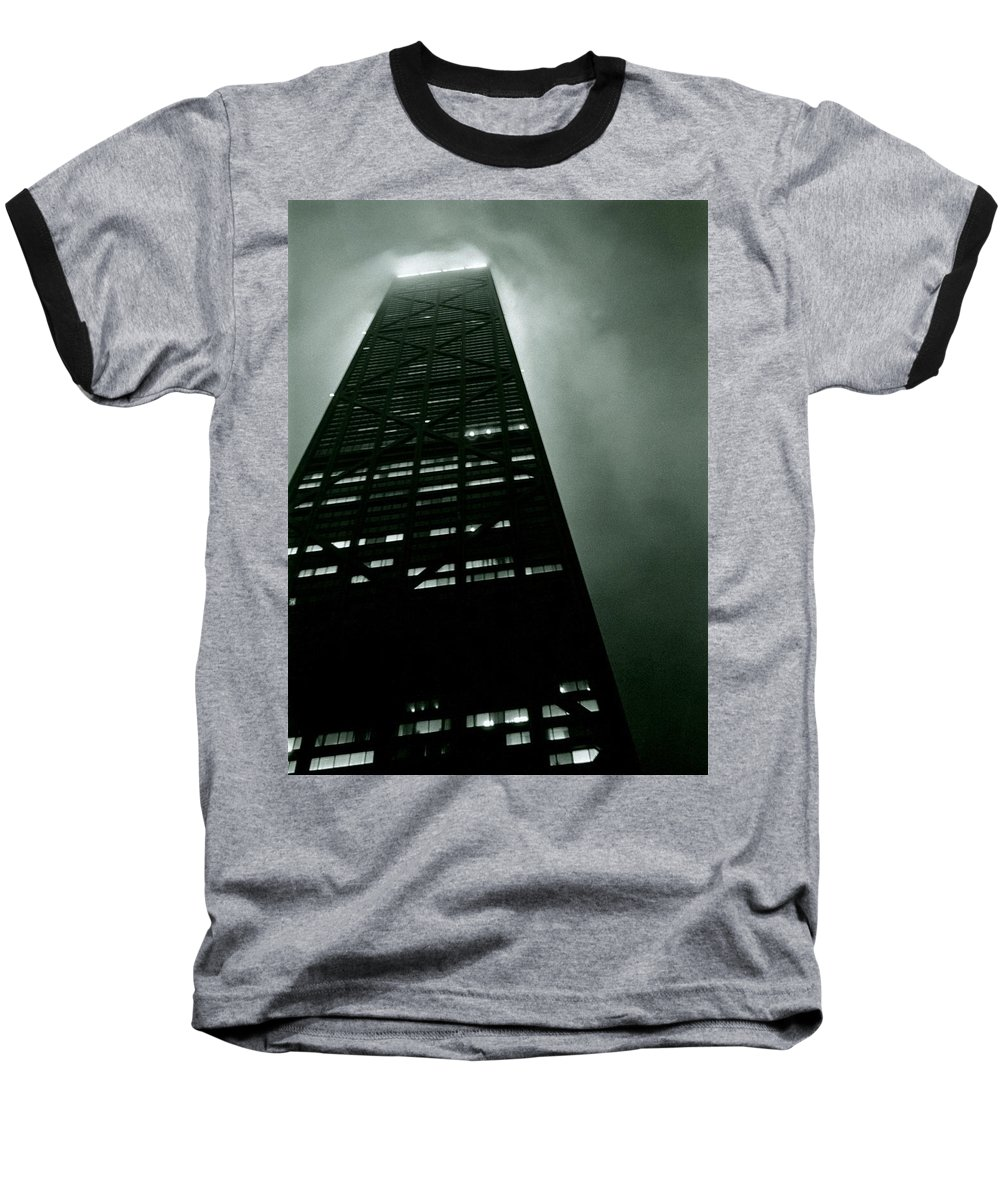 Geometric Baseball T-Shirt featuring the photograph John Hancock Building - Chicago Illinois by Michelle Calkins