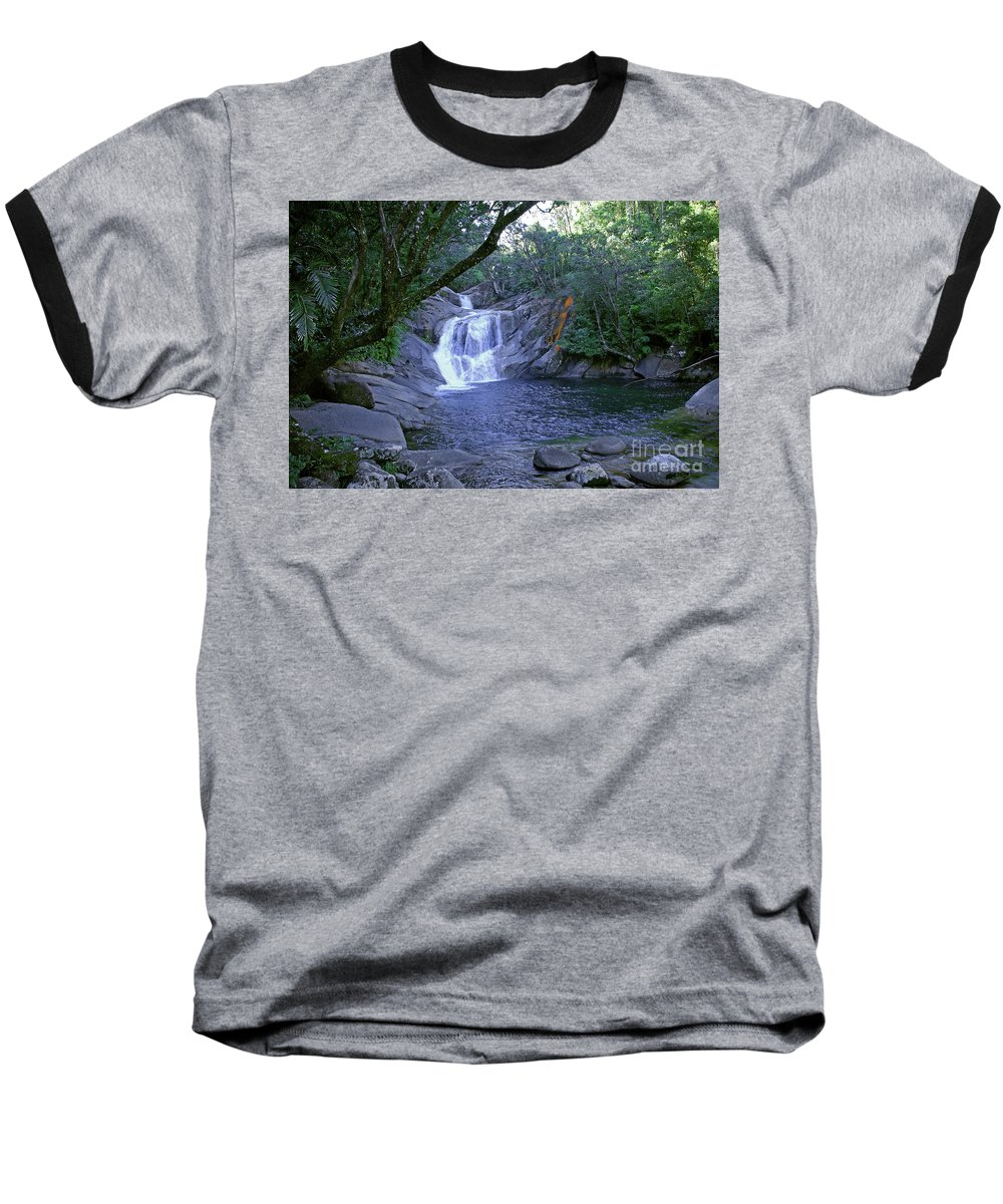 Tropical Baseball T-Shirt featuring the photograph Josephine Falls And Tropical Pool by Kerryn Madsen- Pietsch