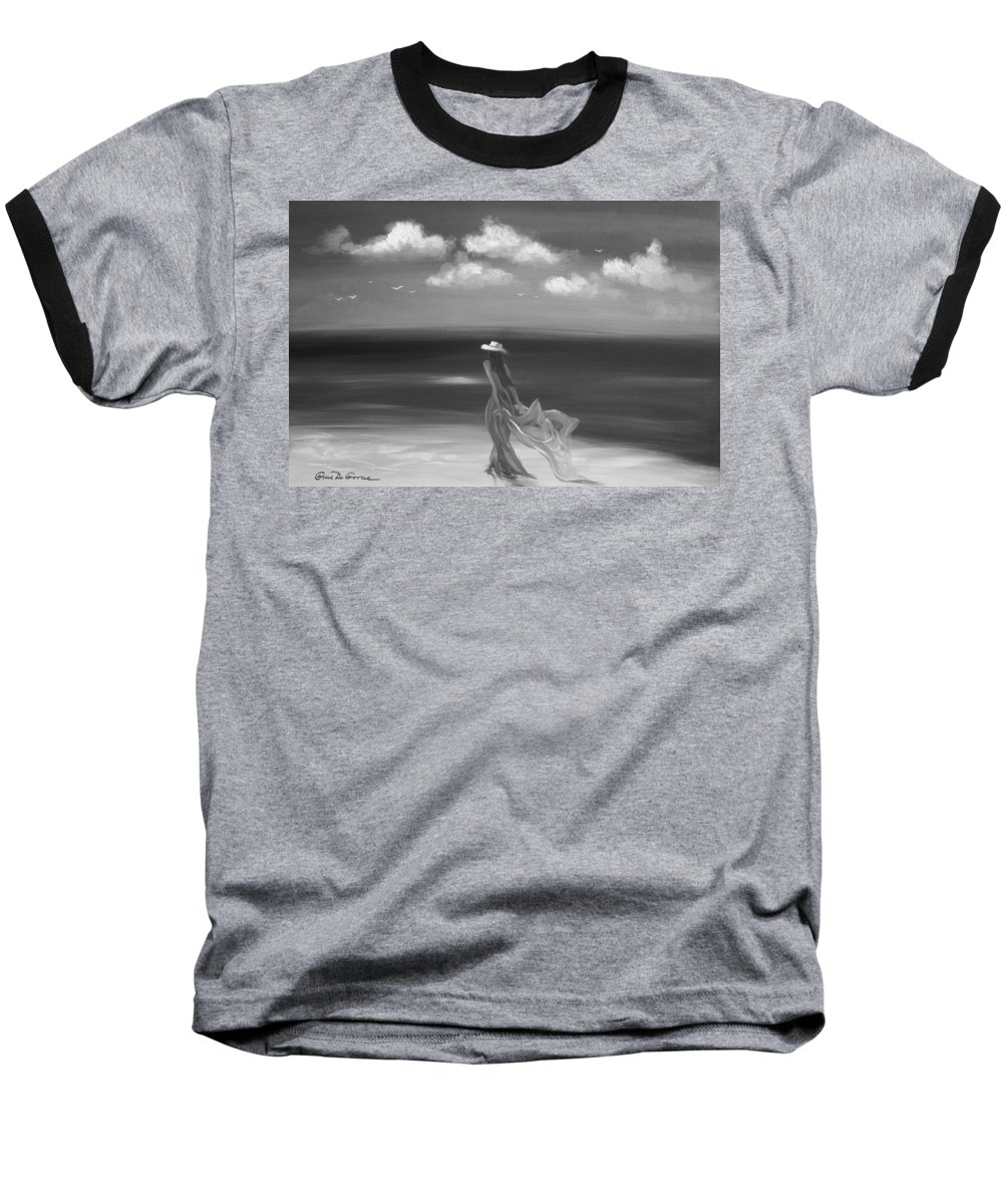 Original Baseball T-Shirt featuring the painting Lady In Red by Gina De Gorna