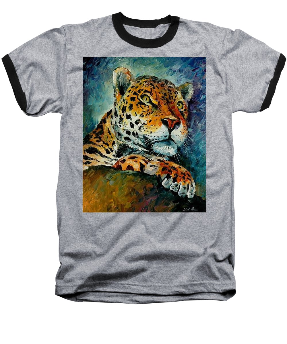 Animal Baseball T-Shirt featuring the painting Leopard by Leonid Afremov