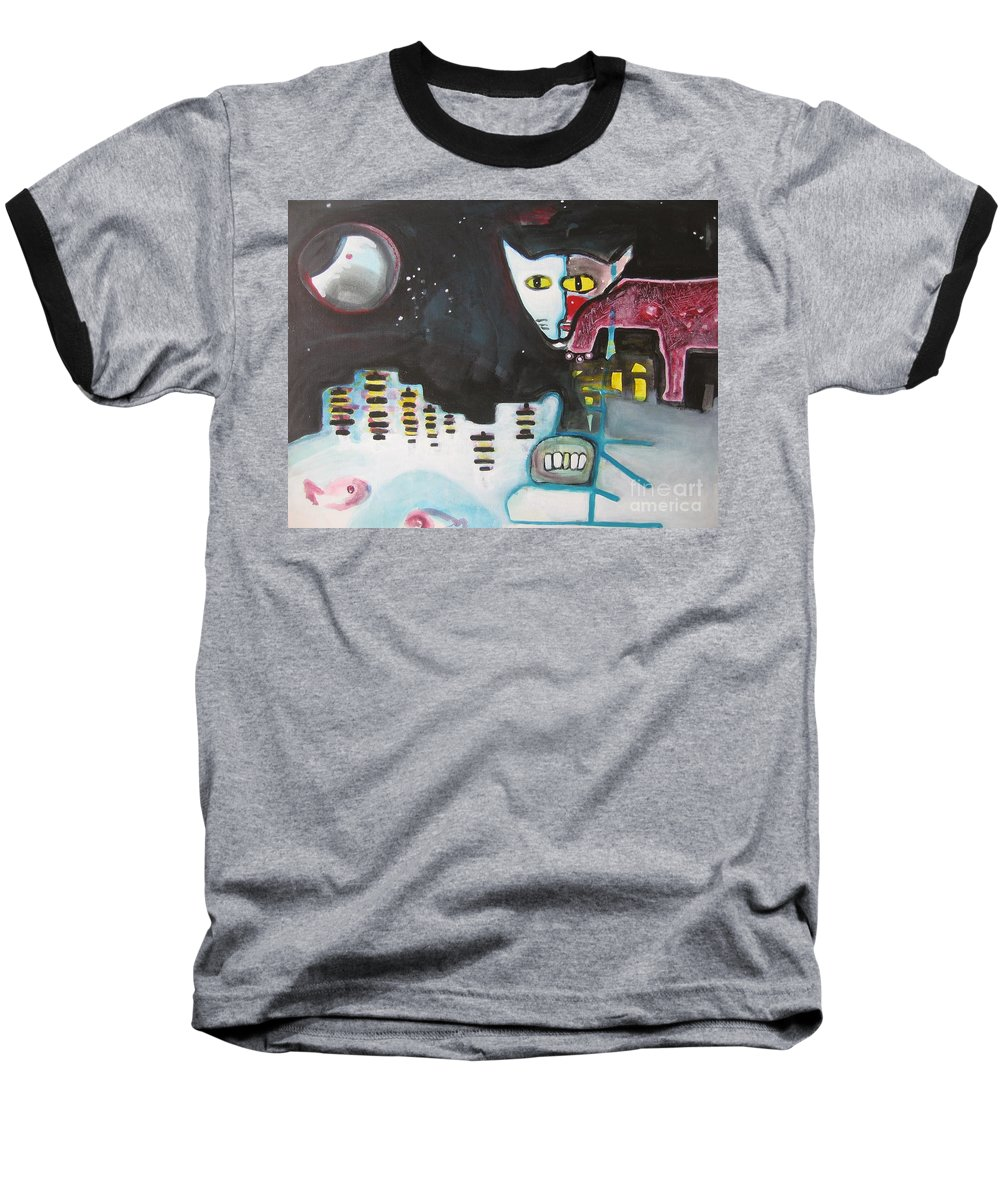 Cat Paintings Baseball T-Shirt featuring the painting Let Me Out3 by Seon-Jeong Kim