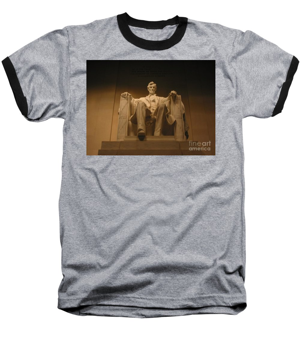Abraham Lincoln Baseball T-Shirt featuring the painting Lincoln Memorial by Brian McDunn