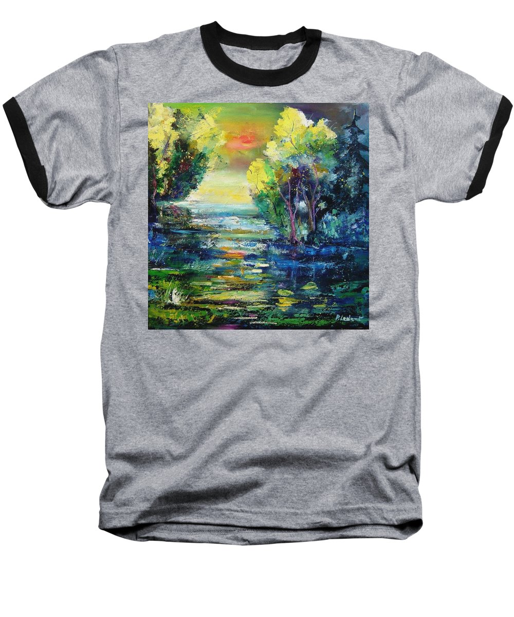Pond Baseball T-Shirt featuring the painting Magic Pond by Pol Ledent