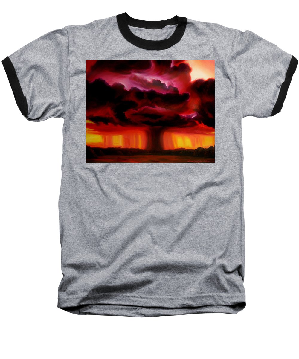 Skyscape Baseball T-Shirt featuring the painting Microburst by James Christopher Hill