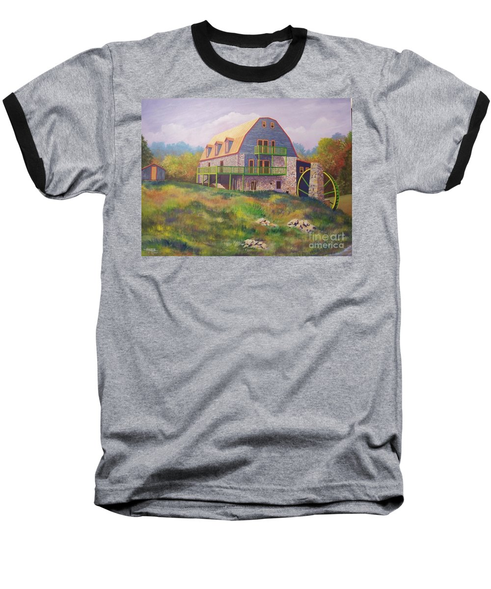 Mill Baseball T-Shirt featuring the painting Mountain Mill by Hugh Harris