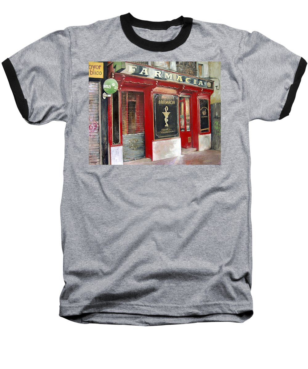 Farmacia Baseball T-Shirt featuring the painting Old Pharmacy by Tomas Castano