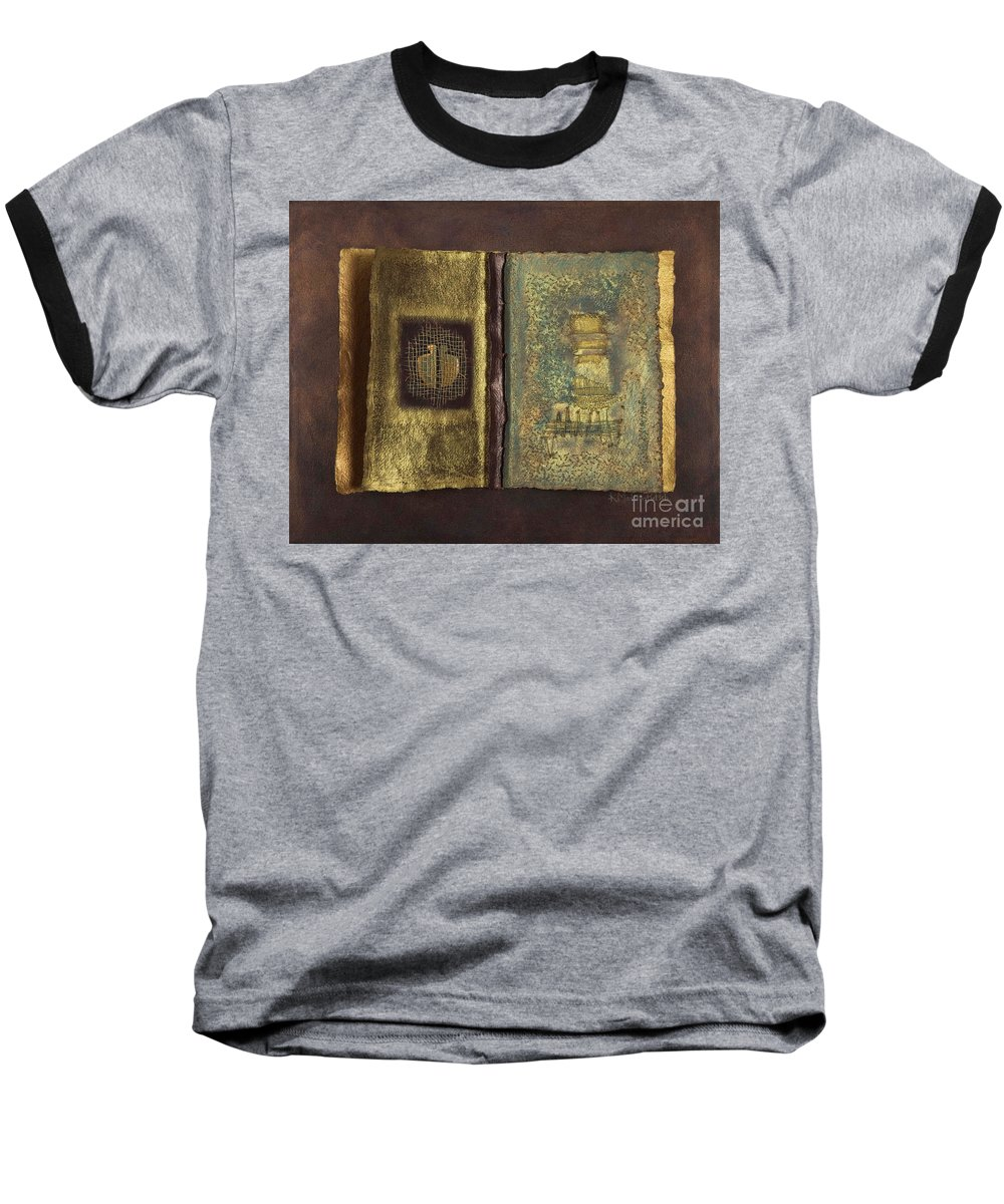 Artist-book Baseball T-Shirt featuring the mixed media Page Format No 1 Transitional Series by Kerryn Madsen-Pietsch