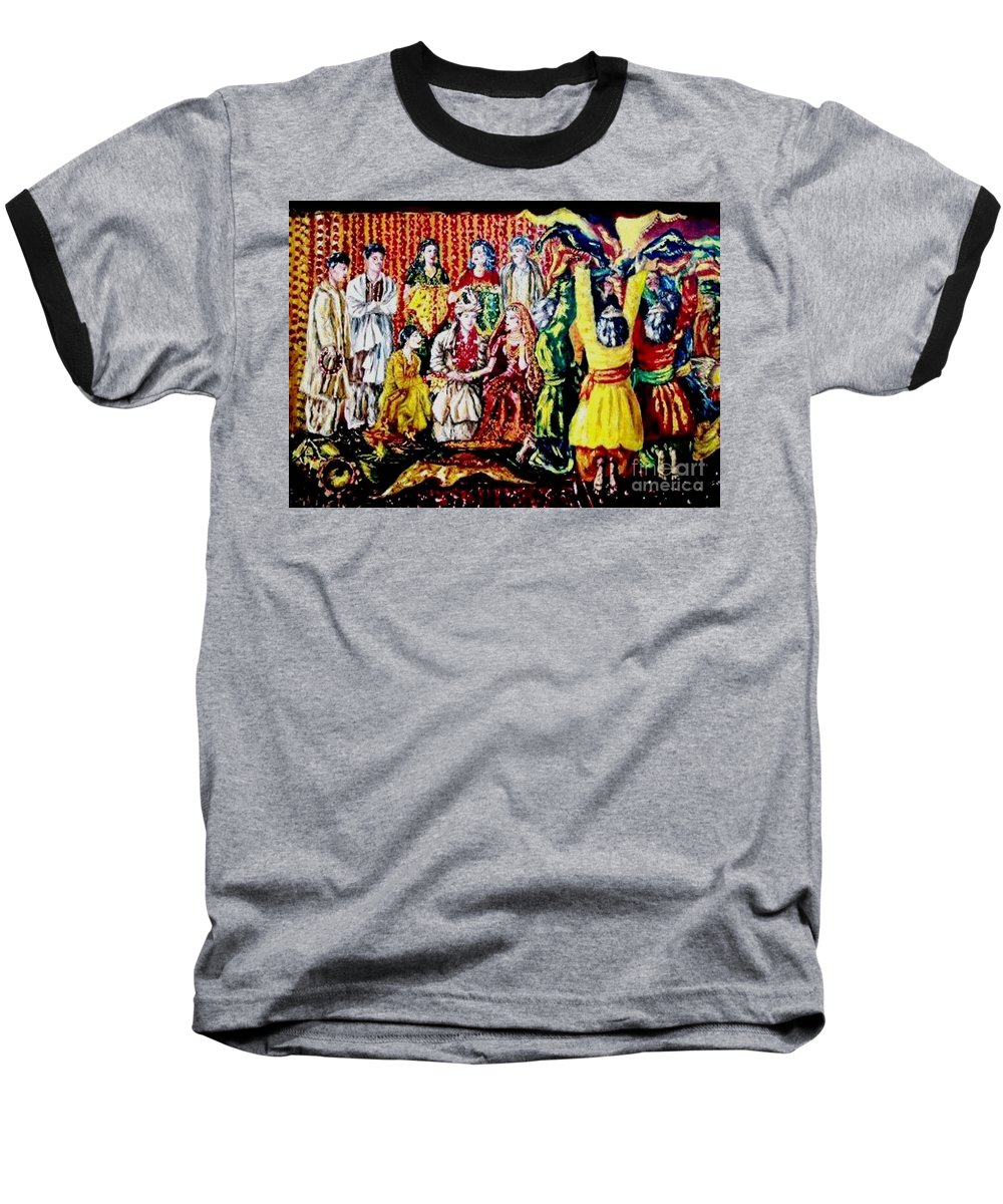 Oil Painting Baseball T-Shirt featuring the painting Pakistani Wedding by Fareeha Khawaja