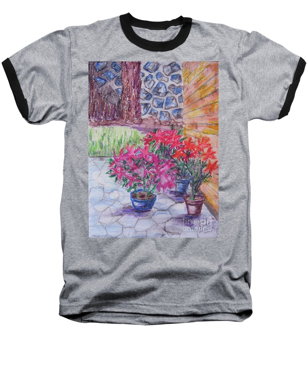 Poinsettias Baseball T-Shirt featuring the painting Poinsettias - Gifted by Judith Espinoza