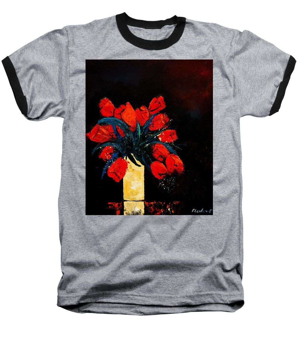 Flowers Baseball T-Shirt featuring the painting Red Tulips by Pol Ledent