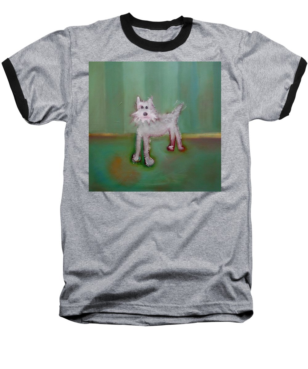White Puppy Baseball T-Shirt featuring the painting Snowy by Charles Stuart