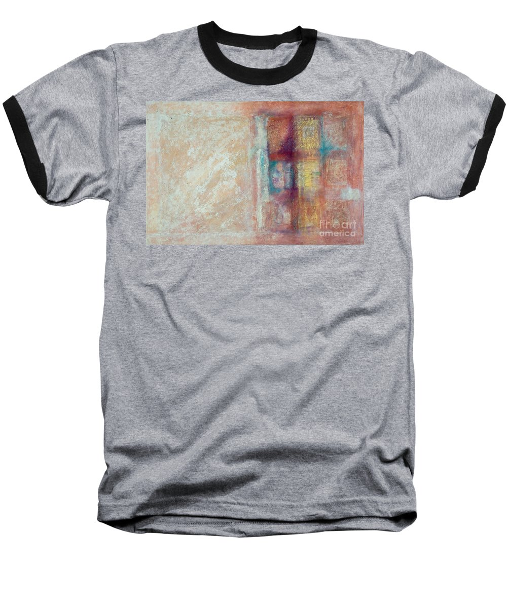 Mixed-media Baseball T-Shirt featuring the painting Spirit Matter Cosmos by Kerryn Madsen-Pietsch