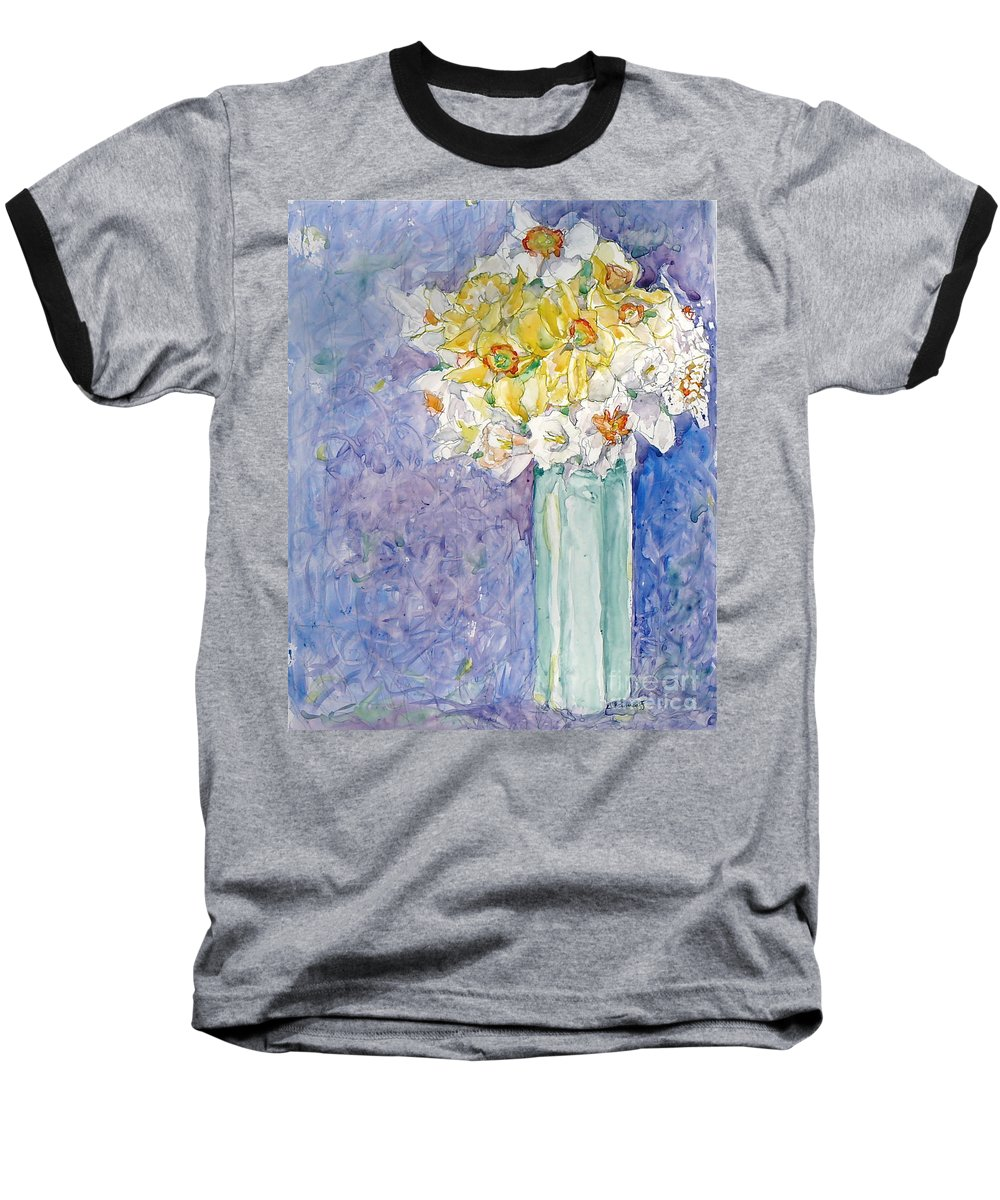 Watercolor Baseball T-Shirt featuring the painting Spring Blossoms by Jan Bennicoff