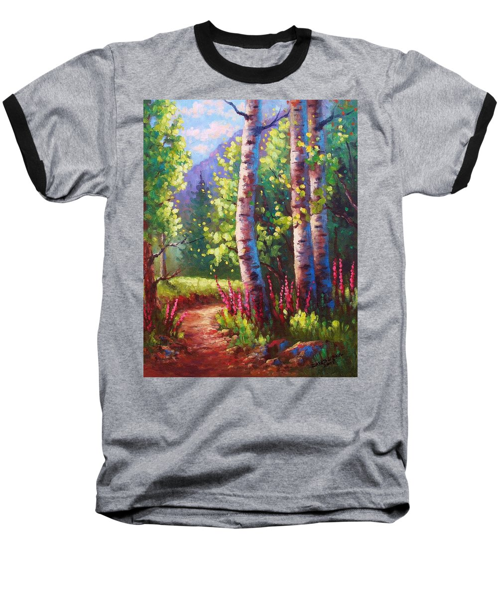 Aspen Baseball T-Shirt featuring the painting Spring Path by David G Paul