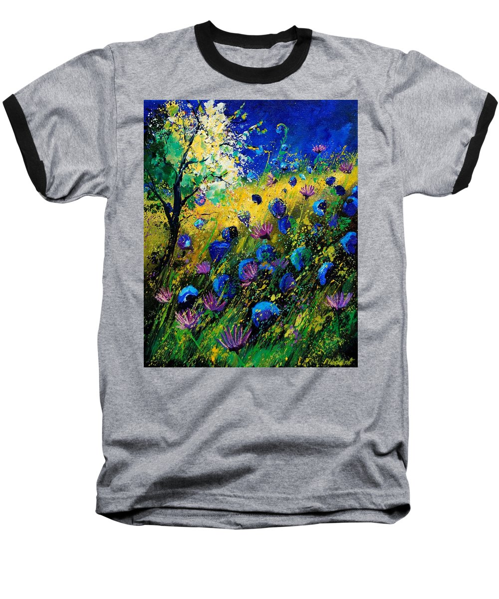 Poppies Baseball T-Shirt featuring the painting Summer 450208 by Pol Ledent