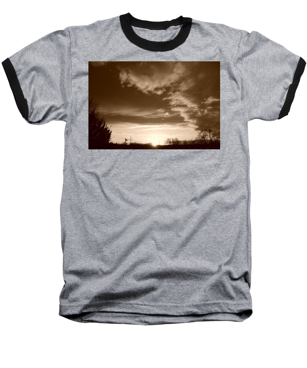 Sunset Baseball T-Shirt featuring the photograph Sunset And Clouds by Rob Hans