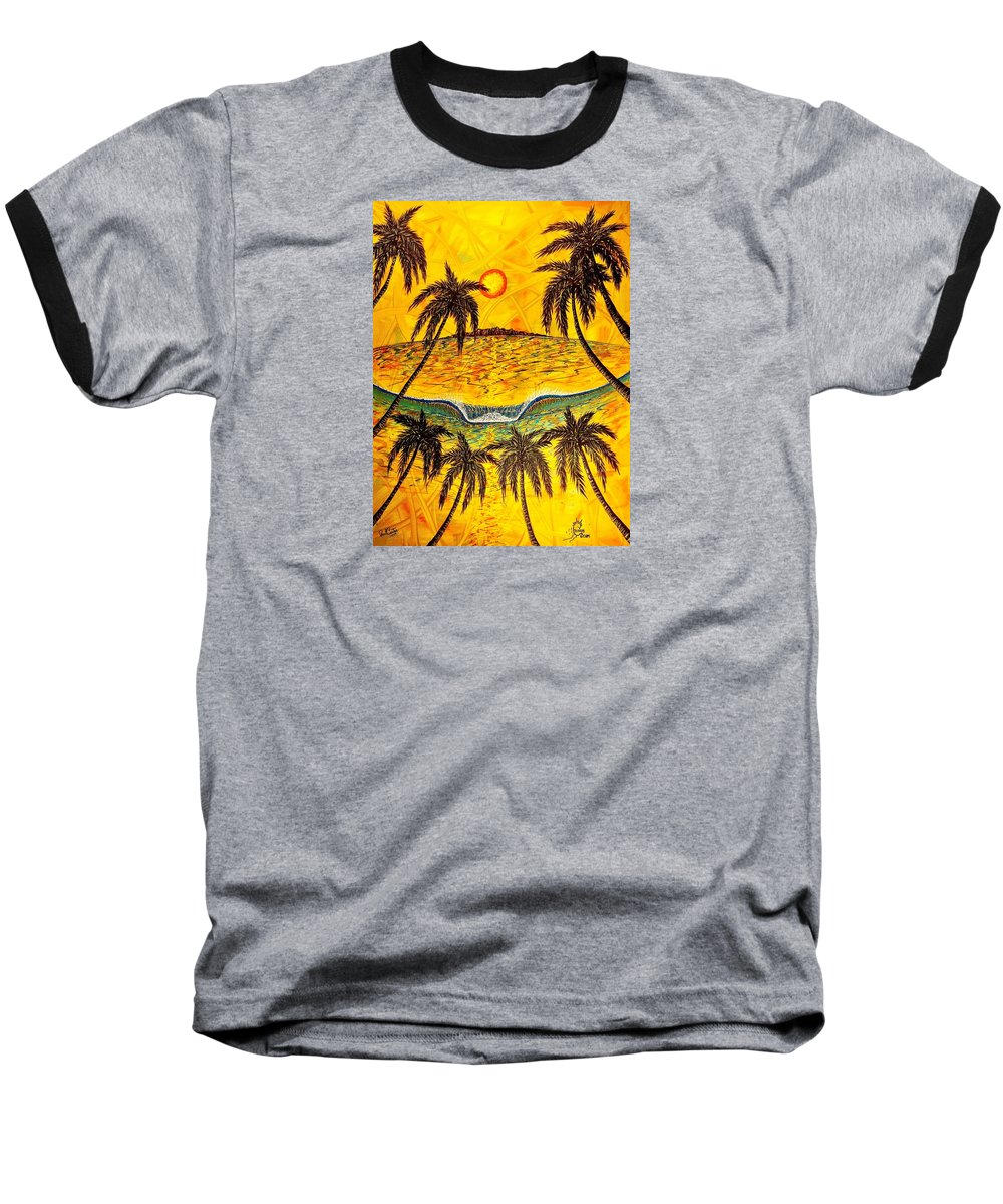 Sunset Baseball T-Shirt featuring the painting Sunset Dream 1 by Paul Carter